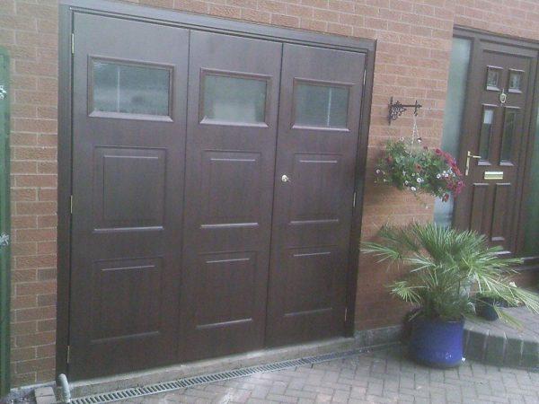 UPVC wooden effect pedestrian garage door
