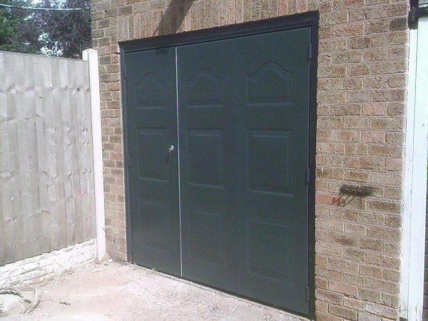 black pedestrian garage door