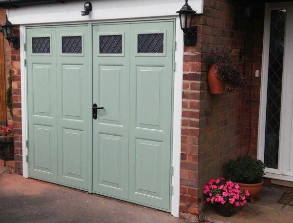 pale green side hinged garage door