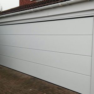 white electric garage door