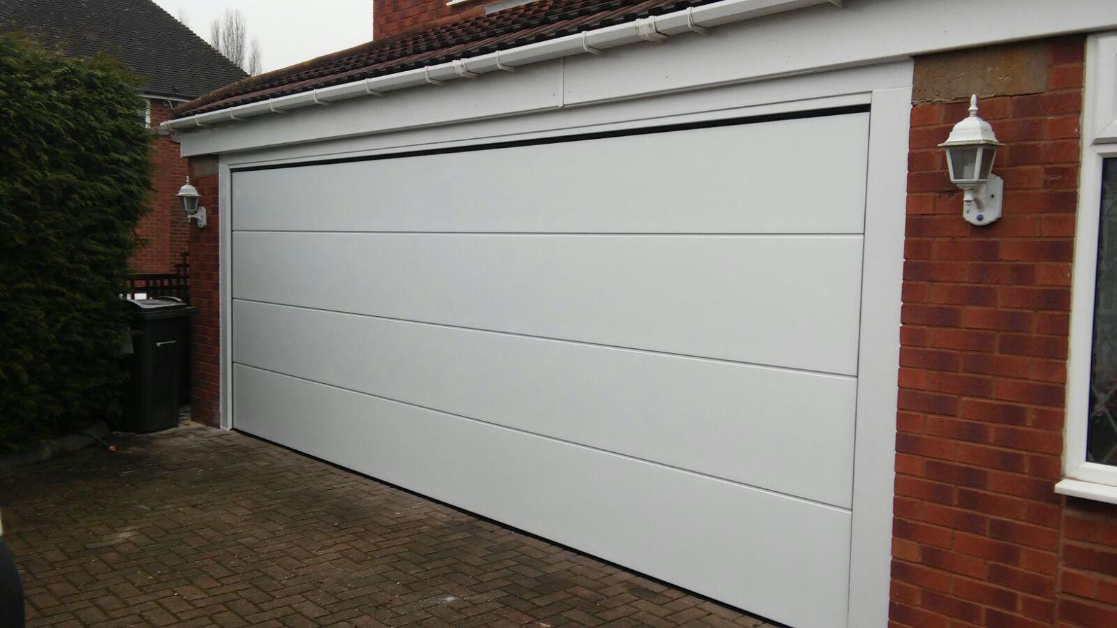 white electric garage door