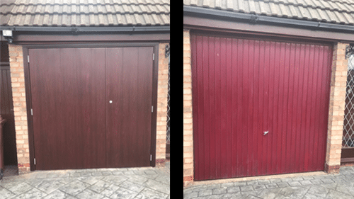 Side Hinged Steel Cartmel Garage Door with Rosewood Finish Jan 19