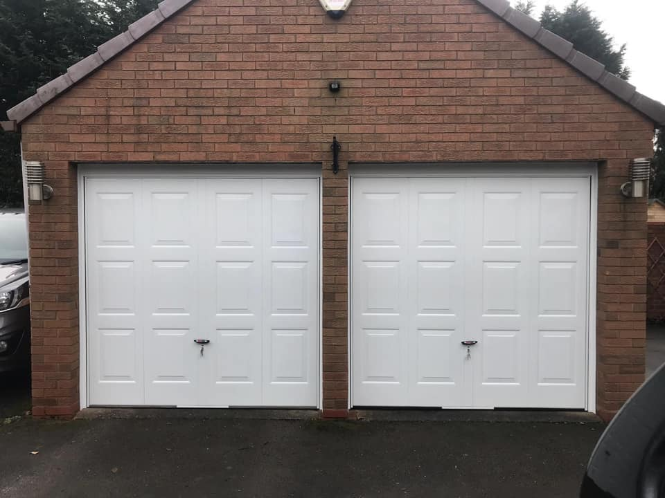 double white up and over garage doors