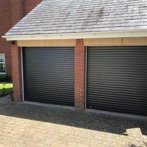 black roller double garage doors